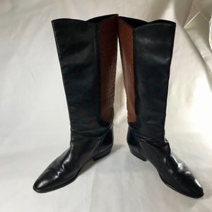 Cole Haan Tall Leather Boots W/Brown Weave Detail